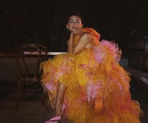 zendaya, dress, and orange image