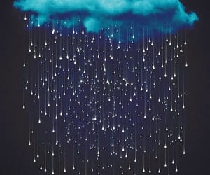 art, black and white, and rain image