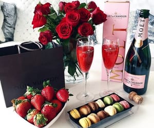 rose, strawberry, and champagne image