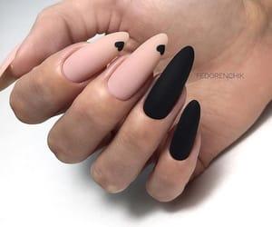 nails, black nails, and matte image