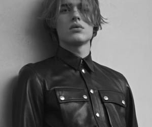 cute boy, leather, and top button done up image
