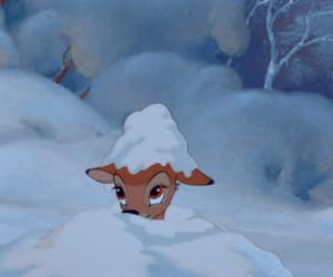 bambi, disney, and snow image