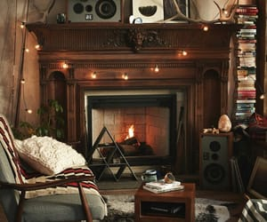 fireplace, winter, and cozy image