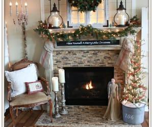 christmas, fireplace, and garland image