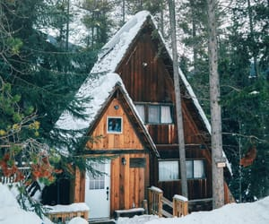 house, snow, and nature image
