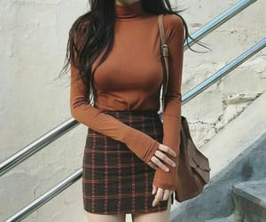brown, korean fashion, and outfit image