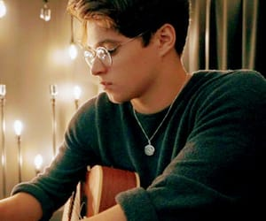 fairy lights, glasses, and guitar image