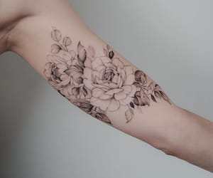arm tattoo, floral, and flower tattoo image