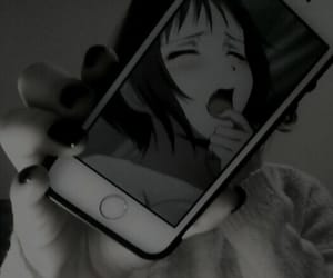 black, anime, and iphone image
