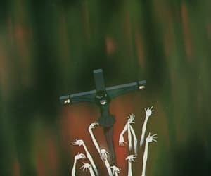 cross, dark, and hands image