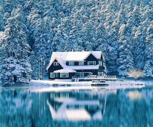 house, snow, and snowing image