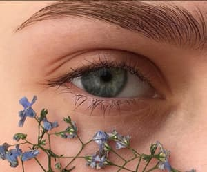 eyes, flowers, and blue image