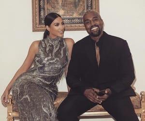 couple, kanye west, and kim kardashian image