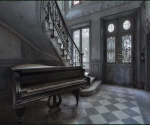 piano, dark, and house image