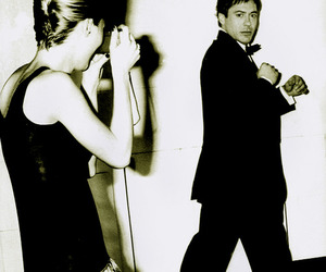 black & white, robert downey jr, and kate moss image