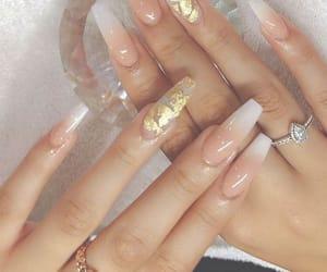 nails, acrylic, and gold image