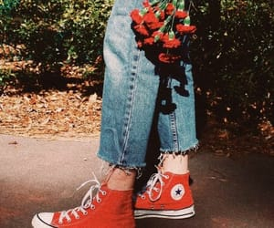 red, flowers, and converse image