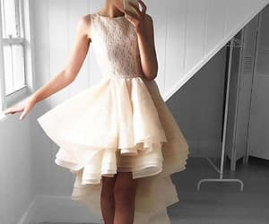high low prom dress, lace homecoming dress, and prom dress short image