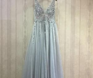 silver prom dress, v-neck prom dress, and prom dress long image