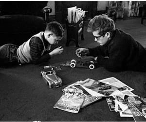 black and white, james dean, and kid image