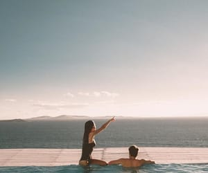 couple, ocean, and pool image