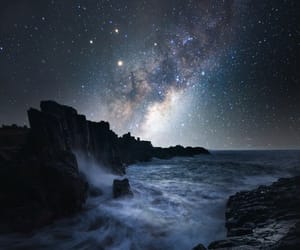 coast, night, and ocean image