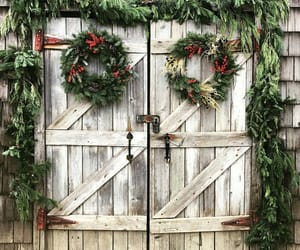 barn, farmhouse, and wreaths image