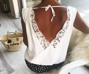 romantic, white lace blouse, and summer image