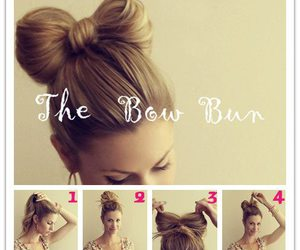 bow, lady, and bun image