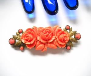 etsy, celluloid roses, and coral pink orange image