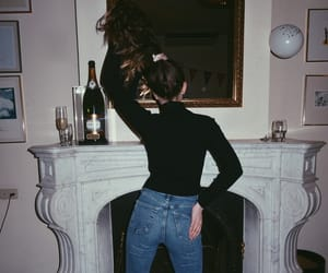 back, hair, and fireplace image