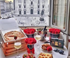 food, roses, and view image