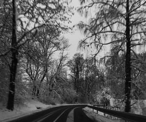 couple, snow, and road image