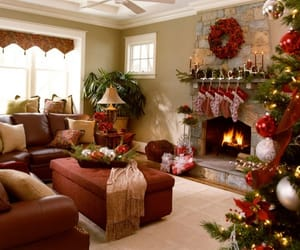 christmas, fireplace, and decorations image