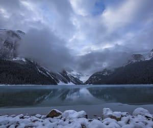 clouds, lake, and lake louise image