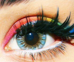 eye, eyes, and rainbow image