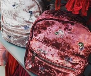 backpack, bag, and embroidered image