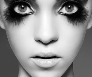 black and white, eye lashes, and creative image