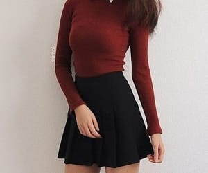 girl, outfit, and red image