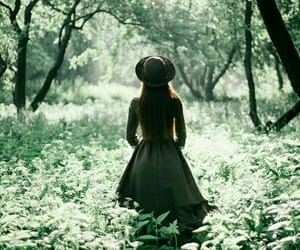 girl, green, and nature image