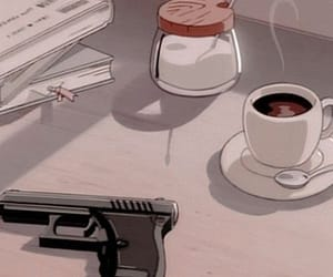 anime, coffee, and gun image