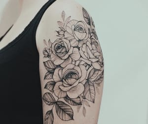 arm tattoo, floral, and flower image