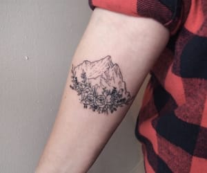 tattoo, flowers, and mountain image