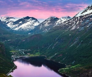 mountains, norway, and lake image