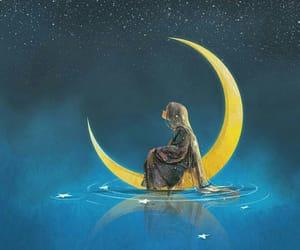 illustration, moon, and long hair image
