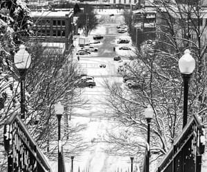 b&w, snow, and cities image