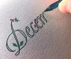 calligraphy, christmas, and december image