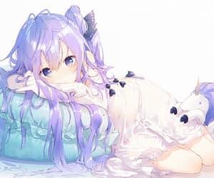 anime girl, unicorn, and blush image