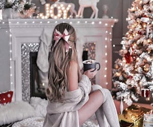 christmas, girl, and christmas tree image