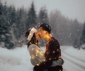 christmas, kiss, and snow image